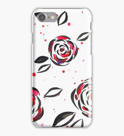 Black ink and red watercolor roses iPhone Case/Skin