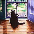 Cat in front of screen by Dan Wilcox