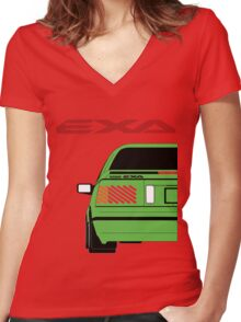 Nissan Exa Coupe - Green Women's Fitted V-Neck T-Shirt