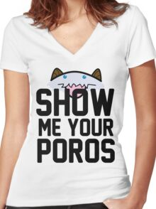 Show Me Your Poros Women's Fitted V-Neck T-Shirt