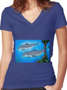 Dolphins Women's Fitted V-Neck T-Shirt