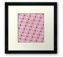 Retro Ice Cream & Drugs Pattern (Pink) Framed Print
