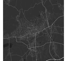 Pécs, Hungary Map. (White on black) Photographic Print
