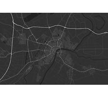Szeged, Hungary Map. (White on black) Photographic Print