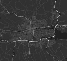 Cork, Ireland Map. (White on black) by Graphical-Maps