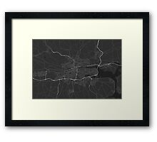 Cork, Ireland Map. (White on black) Framed Print