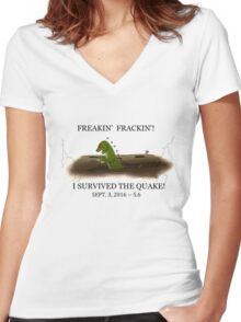 Did the Earth Move?  You may have felt the big one!  Oklahoma Earthquake Art by Gillian Brandon Women's Fitted V-Neck T-Shirt