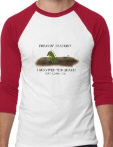 Did the Earth Move?  You may have felt the big one!  Oklahoma Earthquake Art by Gillian Brandon Men's Baseball ¾ T-Shirt