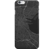 Dublin, Ireland Map. (White on black) iPhone Case/Skin