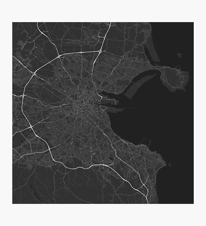 Dublin, Ireland Map. (White on black) Photographic Print