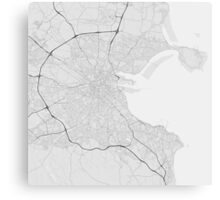 Dublin, Ireland Map. (Black on white) Canvas Print