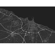 Bari, Italy Map. (White on black) Photographic Print