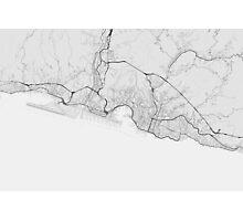 Genoa, Italy Map. (Black on white) Photographic Print