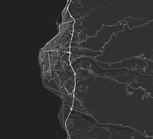 Reggio Calabria, Italy Map. (White on black) by Graphical-Maps
