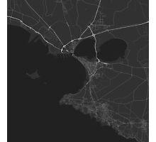 Taranto, Italy Map. (White on black) Photographic Print