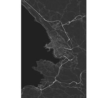 Trieste, Italy Map. (White on black) Photographic Print