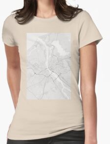 Riga, Latvia Map. (Black on white) Womens Fitted T-Shirt