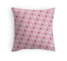 Retro Ice Cream & Drugs Pattern Only (Pink) Throw Pillow