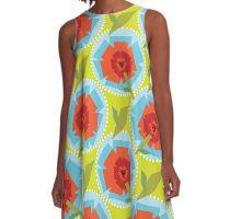 Poppies (Green) A-Line Dress
