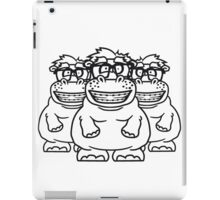 team 3 freunde crew party gruppe nerd geek schlau hornbrille freak dumm zahnspange lustigesdickes comic cartoon nilpferd fett hippo  iPad Case/Skin