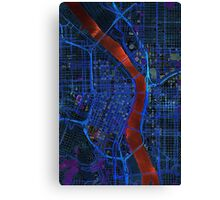 Dark map of Portland city center Canvas Print