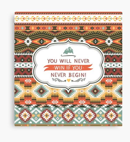Ethnic print vector pattern background Canvas Print