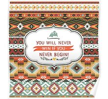 Ethnic print vector pattern background Poster