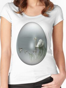 easter egg swan Women's Fitted Scoop T-Shirt