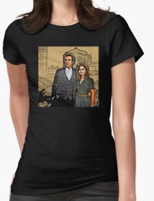 Doctor and Clara Mixed Sketch Womens Fitted T-Shirt