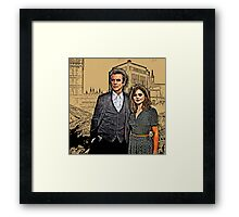 Doctor and Clara Mixed Sketch Framed Print