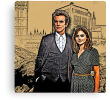 Doctor and Clara Mixed Sketch Canvas Print