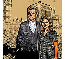 Doctor and Clara Mixed Sketch Photographic Print