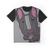 Sporty Bull Terrier Black and White Graphic T-Shirt