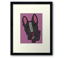 Sporty Bull Terrier Black and White Framed Print