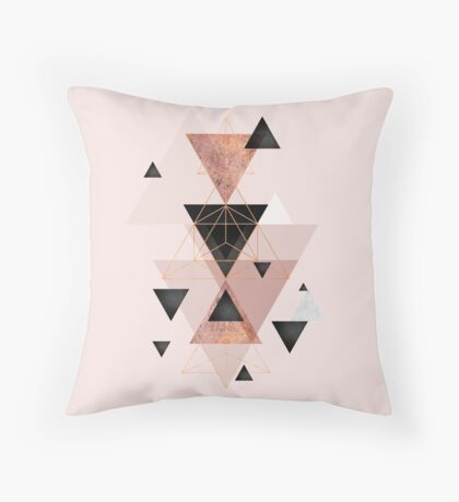 Geometric Triangles in blush and rose gold Throw Pillow