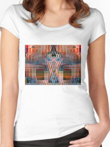 Native Indian Owl - Oil painting Women's Fitted Scoop T-Shirt