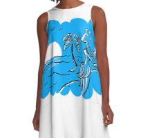 Hula-sauraus - Now in Blue! A-Line Dress