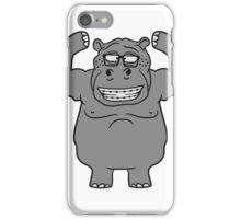 stark muskeln bodybuilding nerd geek trainieren lustiges süßes niedliches dickes comic cartoon nilpferd fett hippo  iPhone Case/Skin