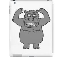 stark muskeln bodybuilding nerd geek trainieren lustiges süßes niedliches dickes comic cartoon nilpferd fett hippo  iPad Case/Skin