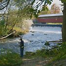 Fishing by the bridge by Linda Jackson