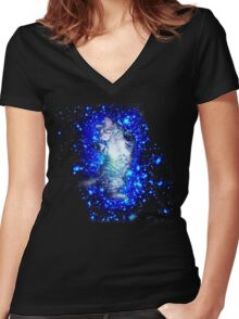 Psychedelic Galaxy Cat in space Women's Fitted V-Neck T-Shirt