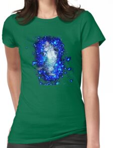 Psychedelic Galaxy Cat in space Womens Fitted T-Shirt