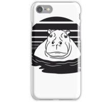 sonne abend mond sonnenuntergang nilpferd dick wasser schwimmen dick groß see tümpel comic cartoon  iPhone Case/Skin