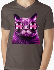 Pink Hipster Cat 4 Hillary Mens V-Neck T-Shirt
