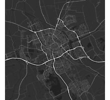 Groningen, Netherlands Map. (White on black) Photographic Print