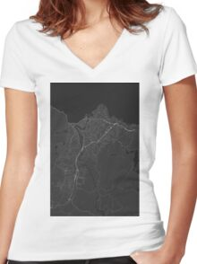Trondheim, Norway Map. (White on black) Women's Fitted V-Neck T-Shirt