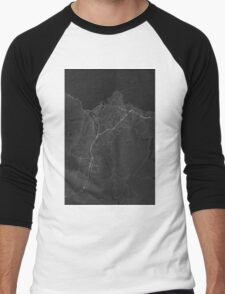 Trondheim, Norway Map. (White on black) Men's Baseball ¾ T-Shirt
