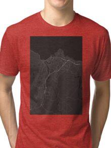 Trondheim, Norway Map. (White on black) Tri-blend T-Shirt