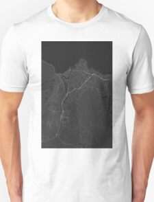Trondheim, Norway Map. (White on black) Unisex T-Shirt