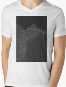 Trondheim, Norway Map. (White on black) Mens V-Neck T-Shirt